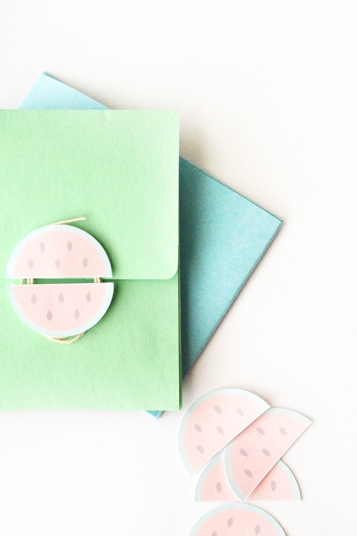 DIY Stationery - Watermelon Button and String Envelopes - Maritza Lisa: DIY Watermelon Button and String Envelopes - Add a summery touch to your DIY stationery with this watermelon shape. Click through for the tutorial