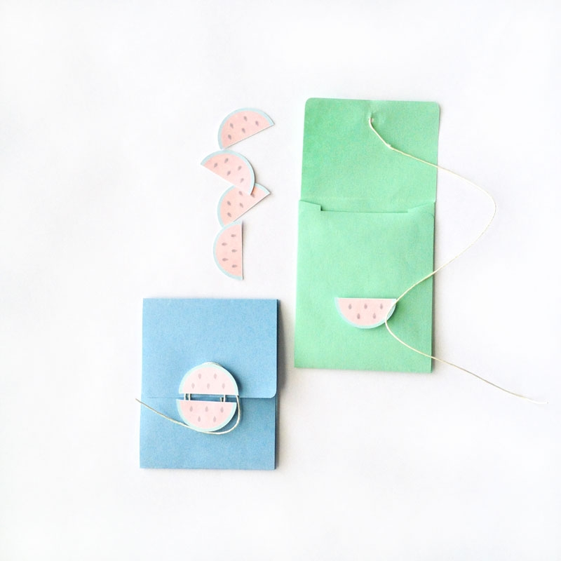 DIY Stationery - Watermelon Button and String Envelopes - Maritza Lisa