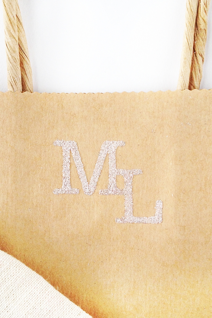 DIY Glittered Monogrammed Packages - Learn how to use Silhouette's Double Sided Starter Kit on Maritza Lisa. Click through for details!