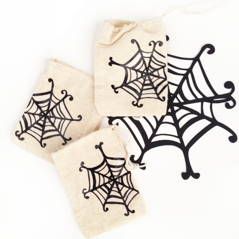 DIY Treat Bags - Create your own spider web treat bags for Halloween