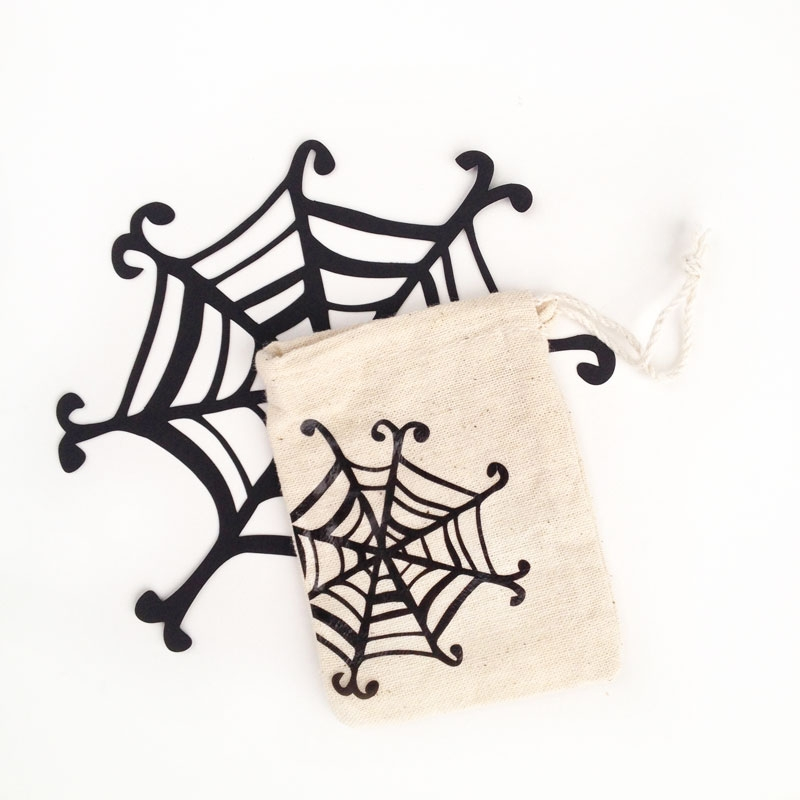 DIY Treat Bags - Spider Web Muslin Bags for Halloween