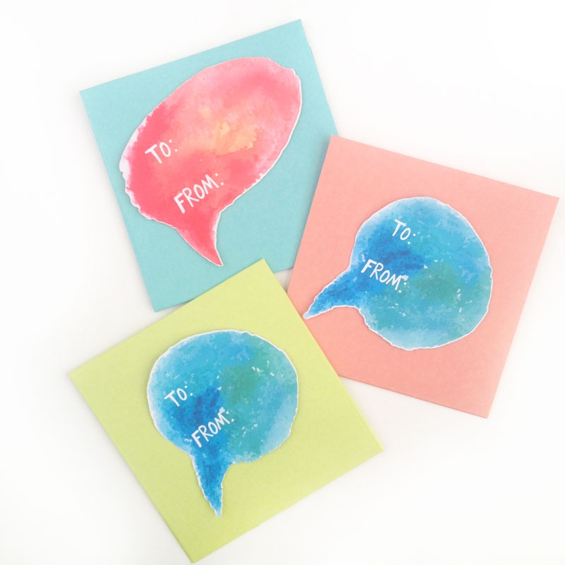 DIY Watercolor Festive Speech Bubble Stickers
