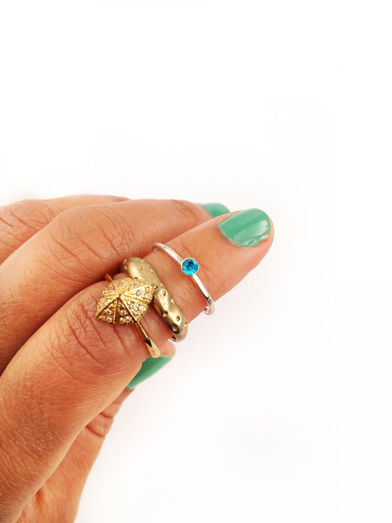 DIY Jewelry - Easy Stackable Rings - Maritza Lisa: Create your own custom stackable rings with colorful mini rhinestones in this quick and easy tutorial. Click through to make yours!