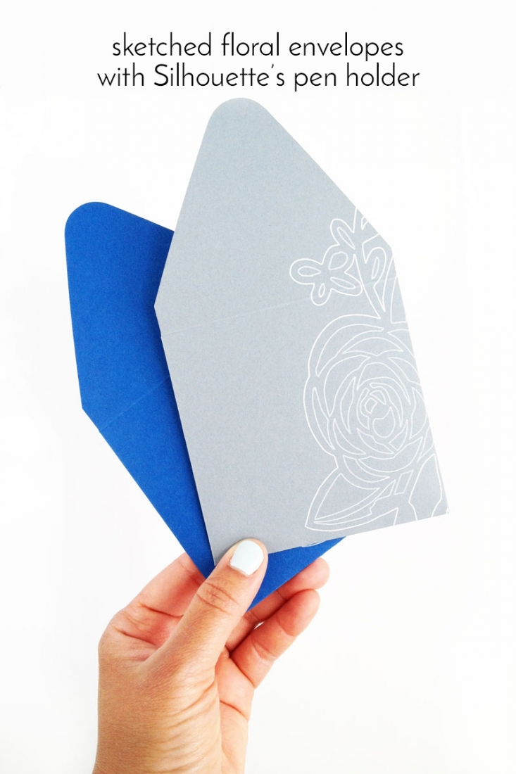 DIY Sketched Floral Envelopes using Silhouette's Pen Holder-Maritza Lisa - Learn how to use the pen holder and a Sakura gel pen to create your own floral stationery or paper goods