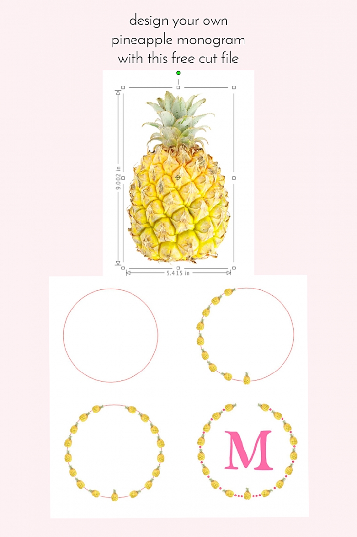 Design your own pineapple monogram - Maritza Lisa - diy - tutorial - free cut file -  paper goods - paper craft - stationery