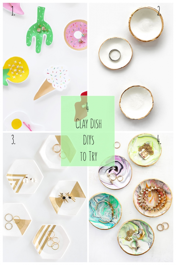 4 Clay Dish DIYs To Try - This week's round up is all about gorgeous diy clay dishes for all your pretty baubles. Click through for details!