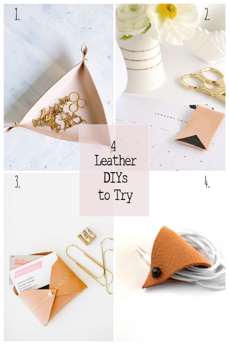 4 Leather DIYs To Try: This  roundup is all about leather DIYs to try. These DIYs are so beautifully functional and I can't wait to try them all.  Click through for full details and tutorials.