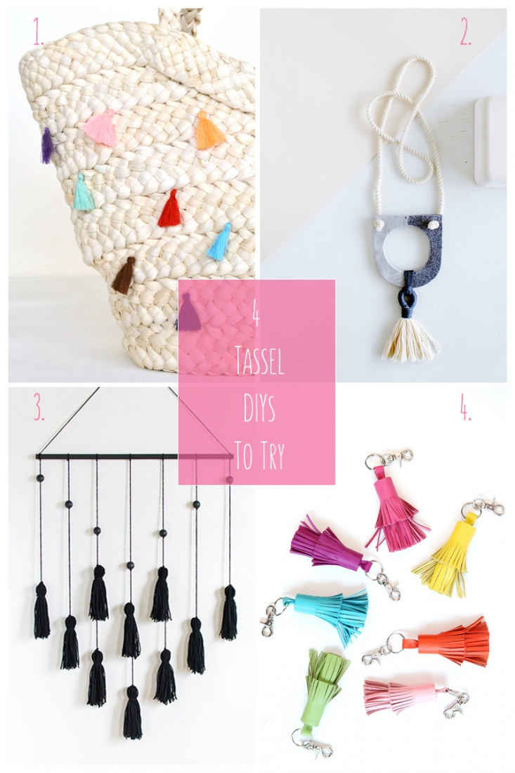 4 Tassel DIYs To Try: This roundup is all about tassel DIYs to try. As you can see from the versatility of these lovely creatives, tassels can be incorporated everywhere: home decor, key chains, totes and jewelry. Click through to get full details and tutorials on each diy...