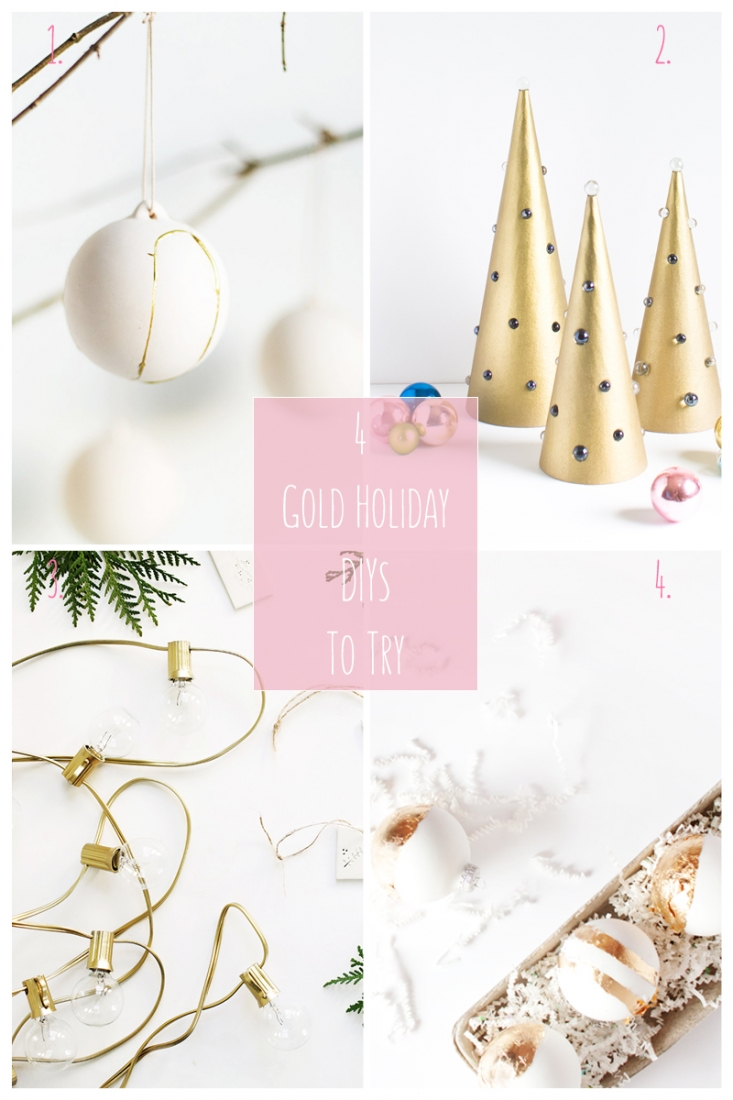 4 Gold Holiday DIYs To Try - Maritza Lisa: This Holiday roundup is all about how you can incorporate gold into your DIYs this Christmas. From ornaments to trees to lights. Click through to get the details!