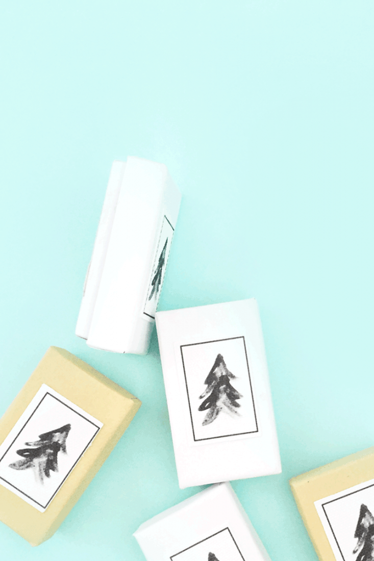 DIY Watercolor Christmas Tree on Canvas Seals - Maritza Lisa: Use Silhouette's Printable Cotton Canvas and this awesome brush-style Christmas Tree graphic to create your own Holiday seals. Perfect for all your packages. Click through to make your own...