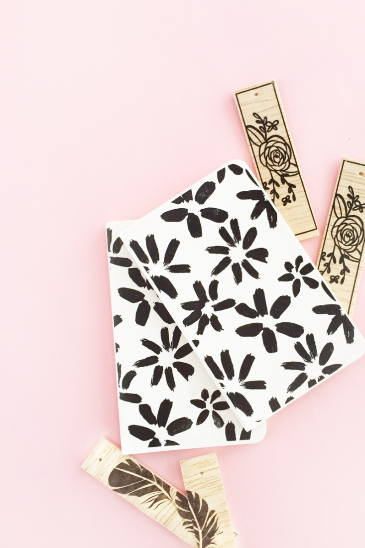 DIY Floral Patterned Notebooks on Maritza Lisa - Update your notebooks with this black and white floral pattern and printable tattoo paper. Click through for the tutorial!