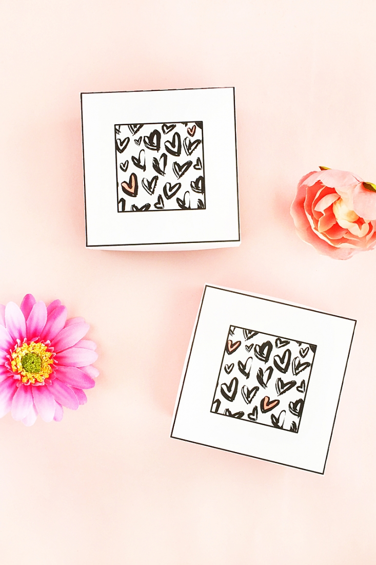 DIY Heart Patterned Gift Boxes - Maritza Lisa: A quick and easy way to update a gift box shape with hearts from one of my favorite designers, Angie Makes