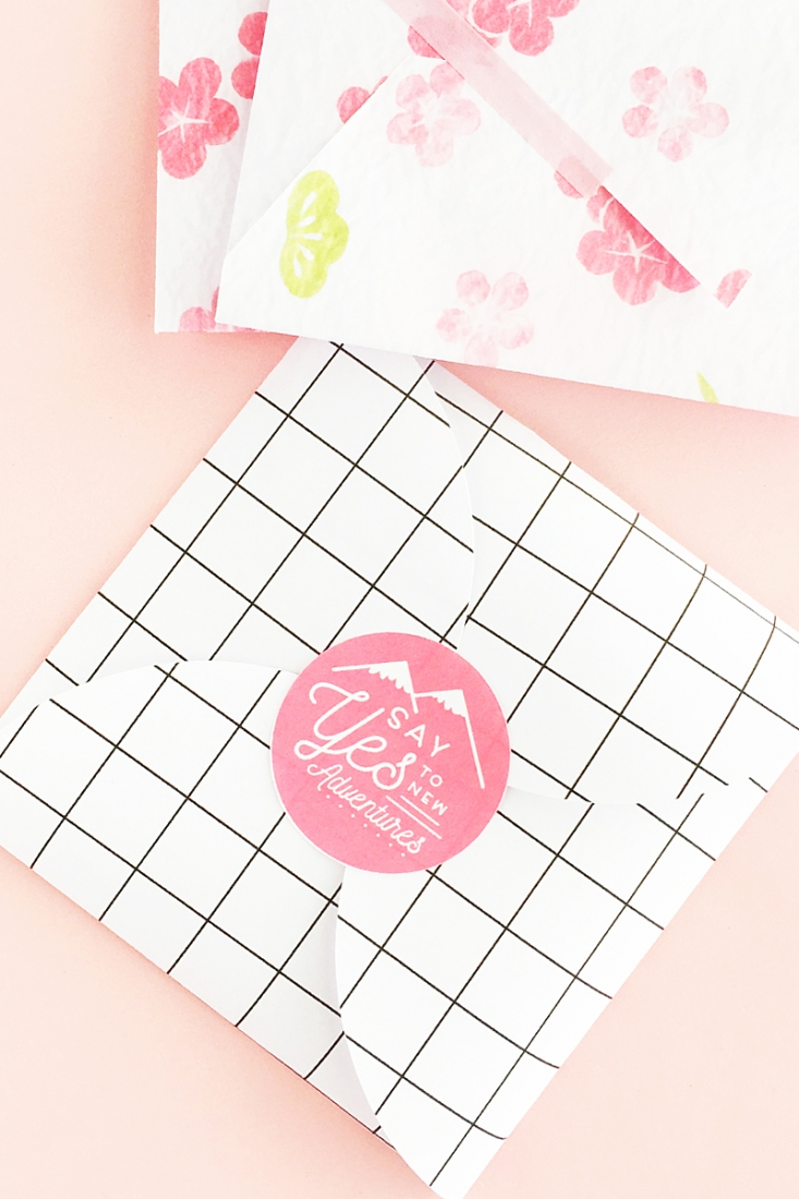 DIY Say Yes To New Adventures Envelope Seals - Maritza Lisa - Make your own envelope or package seals with sweet positivity. Click through for the tutorial!