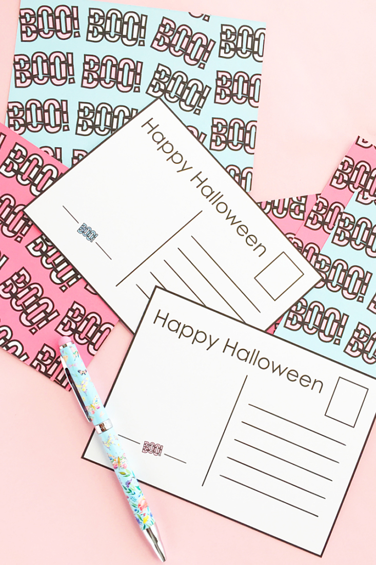 diy boo halloween postcards maritza lisa sometimes you cant say happy halloween - Pictures That Say Happy Halloween