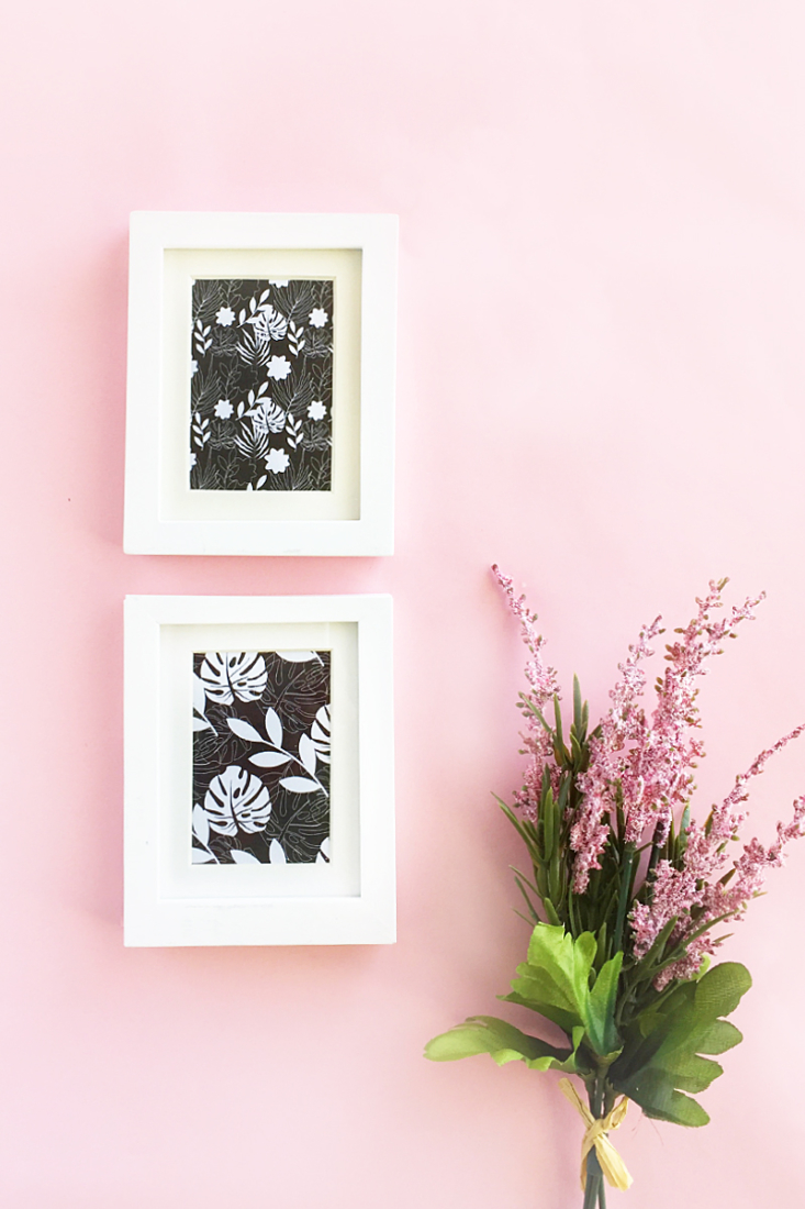 Easy DIY Mini Framed Floral Artwork - Maritza Lisa - It will only take 5 minutes to create this sweet collection of frames. Perfect addition to your home decor!