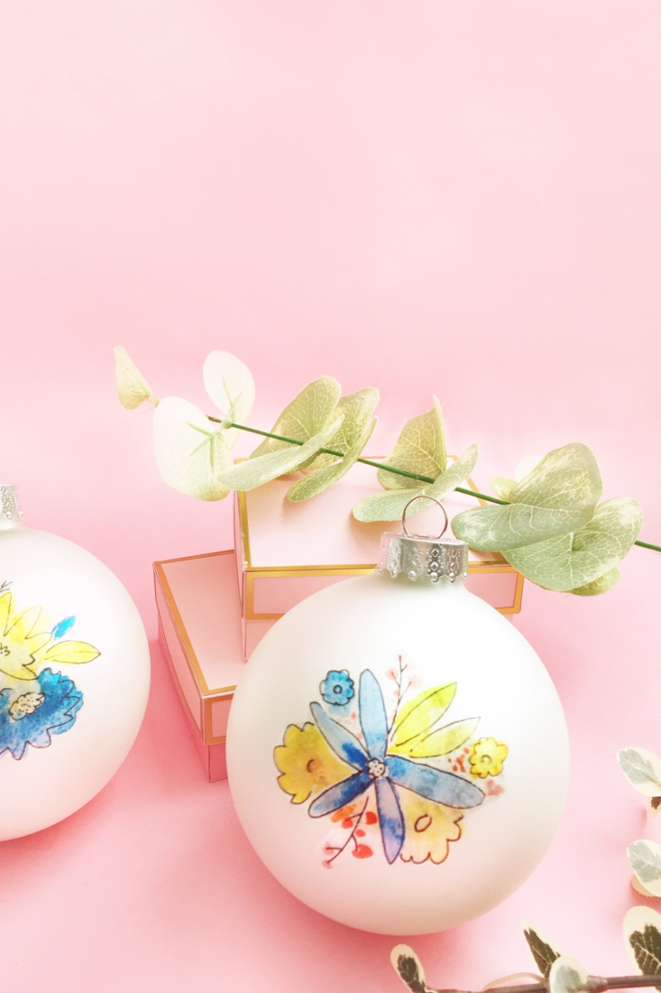 DIY Christmas Ornaments With Watercolor Florals