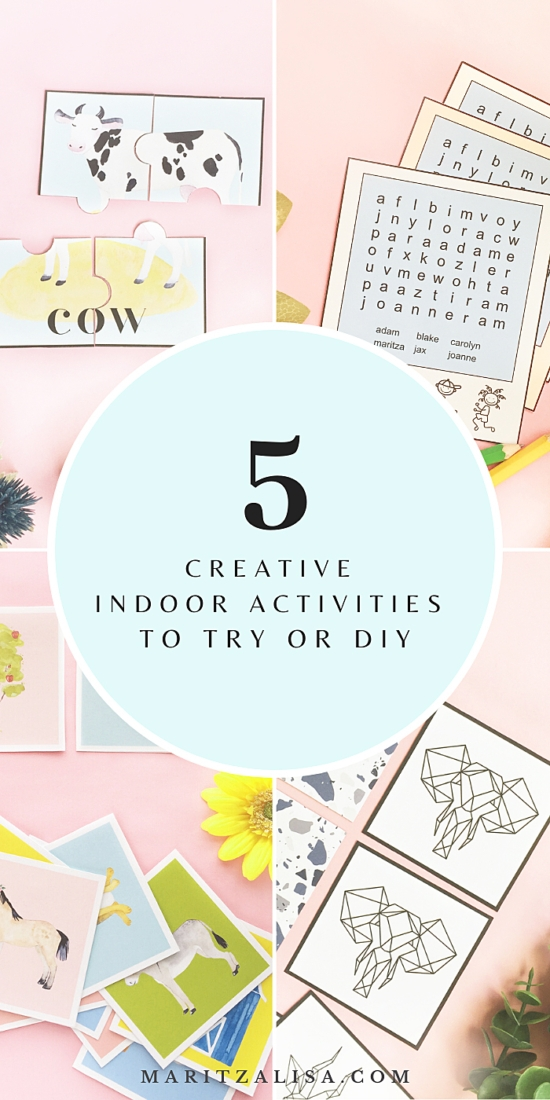 Looking for ideas for indoor activities? Try these 5 Creative Indoor Activities To Try Or DIY. They will keep everyone busy in a very fun way!