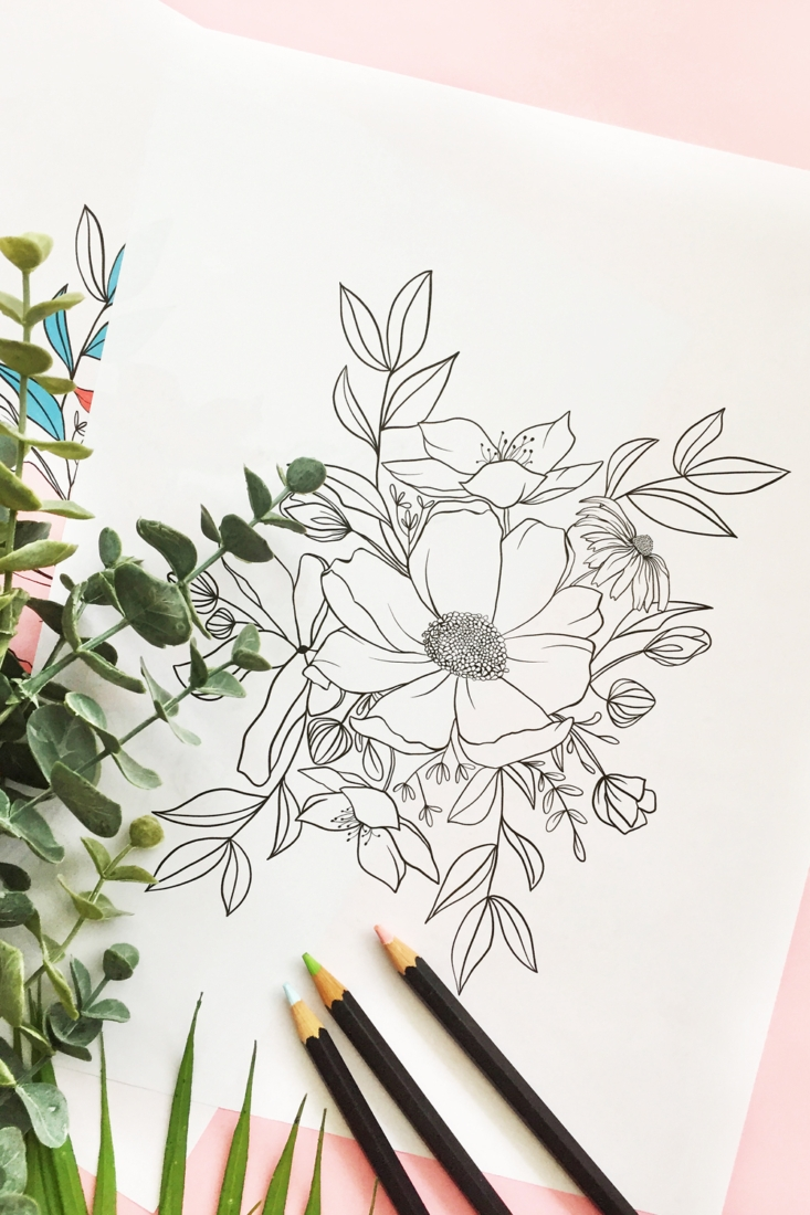 Coloring Page For Adults – Floral Bunch