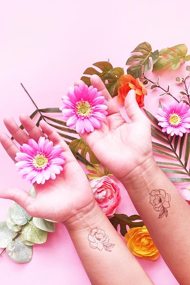 DIY Floral Temporary Tattoos